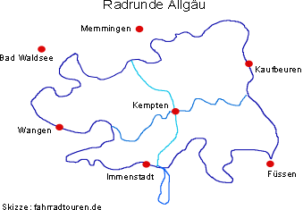 Allgäu Radrunde Radweg Skizze bei fahrradtouren.de