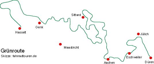 Grünroute Radweg Skizze bei fahrradtouren.de