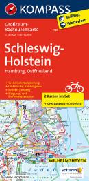 Fahrradkarte Schleswig-Holstein Grossraumkarte KOMPASS